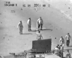 """A scene from the """"Collateral Murder"""" video of a lethal U.S. helicopter attack in Baghdad, July 12, 2007"""