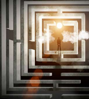 I can understand pessimism, but I don't believe in it. It's not simply a matter of faith, but of historical evidence. Not overwhelming evidence, just enough to give hope, because for hope we don't need certainty, only possibility. -- Howard Zinn (Image: Maze silhouette via Shutterstock)