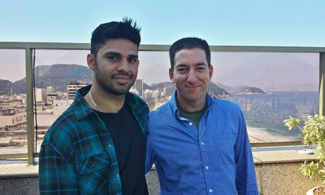 Glenn Greenwald (right) and his partner David Miranda, who was held by UK authorities at Heathrow airport. Photograph: Janine Gibson