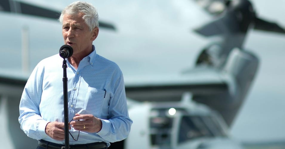 Secretary Chuck Hagel's resignation should be a time for the nation to step back and reexamine its violent approach to extremism, which has led to an expansion of terrorist groups, and inflated military spending. (Photo: DoD/Erin A. Kirk-Cuomo)