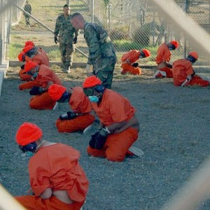 Detainees upon arrival at Camp X-Ray, January 2002