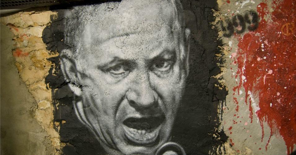 A graffiti-style portrait of Israel's Prime Minister Benjamin Netanyahu. (Photo: thierry ehrmann/flickr/cc)