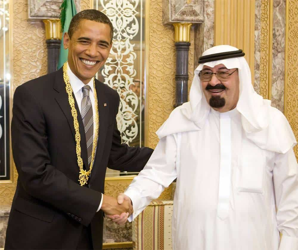 U.S. President Barack Obama with King Abdullah of Saudi Arabia, July 2014.