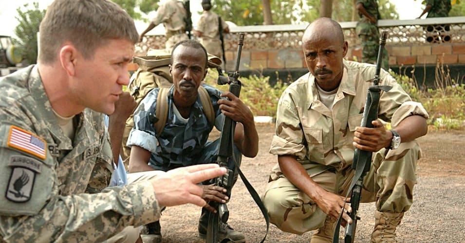 Army Pfc. Daniel Baetson, deployed to Camp Lemonnier, Djibouti, acting as a military trainer with Combined Joint Task Force Horn of Africa during a drill in 2009. (Photo: U.S. Navy photo by Petty Officer 2nd Class Kelly Ontiveros)