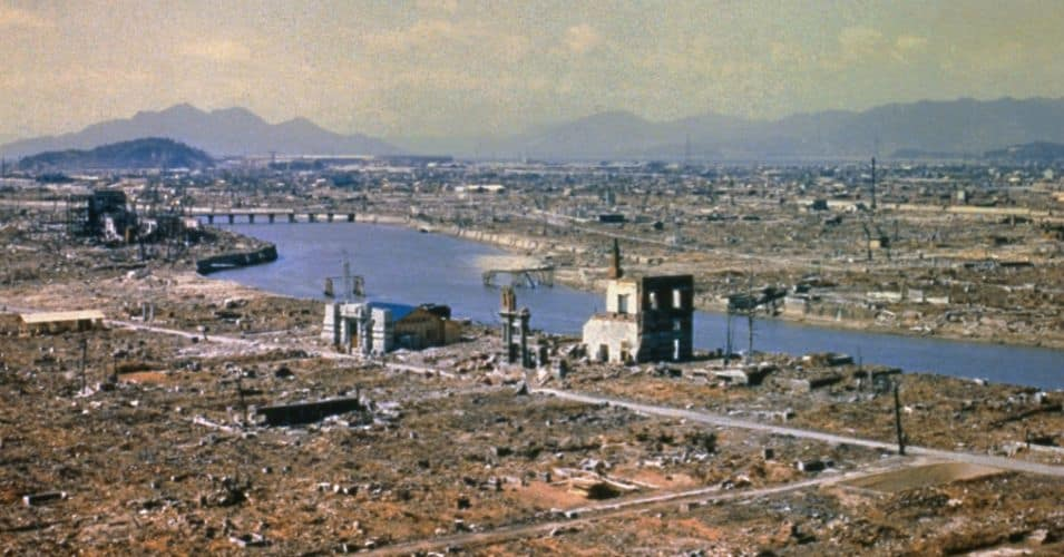 In March of 1946, eight months after the atomic bomb was dropped, the city of Hiroshima stood in ruins.  (Photo: Wikimedia Commons)