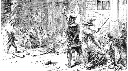 Graphic: 'The Burning of Jamestown' - Internet Archive - Public Domain
