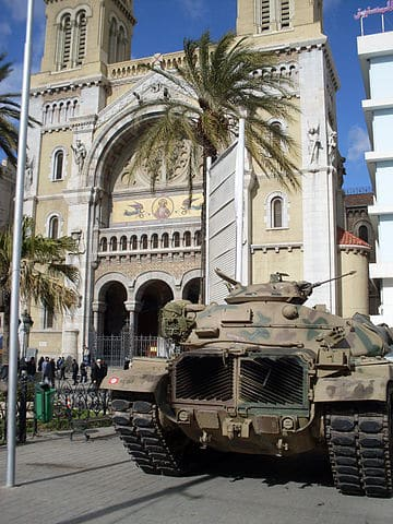 A Tunisian army tank deployed in front of the St. Vincent de Paul Cathedral in Tunis. (Photo: M.Rais)