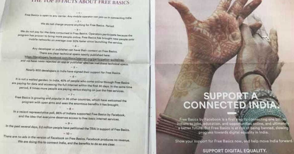 "An advertisement for Facebook's Free Basics internet service. It reads, ""What Net Neutrality Activists Won't Tell You."""