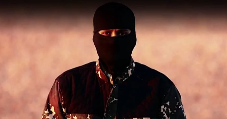 A still image from a recent video released by ISIS, featuring a man with a British accent issuing threats against western governments