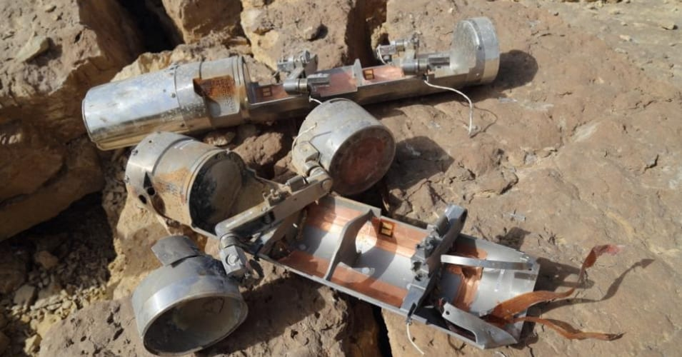 Two BLU-108 canisters, one with two skeet (submunitions) still attached, found in the al-Amar area of al-Safraa in Saada governorate, northern Yemen after an attack on April 27.  (Photo: Ole Solvang/Human Rights Watch)