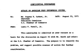 """The beginning of the 1971 memo by Lewis Powell titled """"Attack on American Free Enterprise System,"""""""